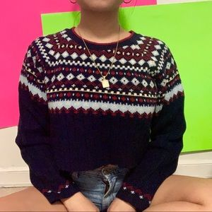 Sweaters - cropped navy blue aztec crewneck sweater ✧